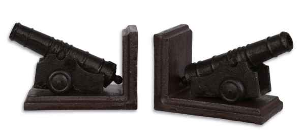 2 Buchstützen Buchständer Kanone Figur Skulptur Eisen Antik-Stil 15cm