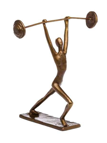 Skulptur Gewichtheber Gewichtheben Antik-Stil Bronze Figur Moderne Pokal Trophäe