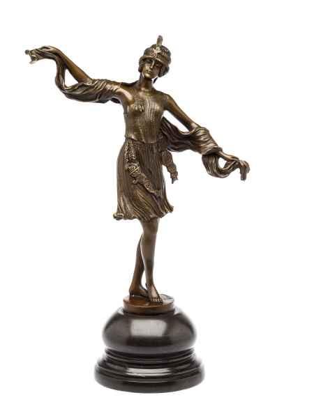 Bronzeskulptur Tänzerin Bronzestatue Bronze Figur Art deco Stil 28 x 40cm
