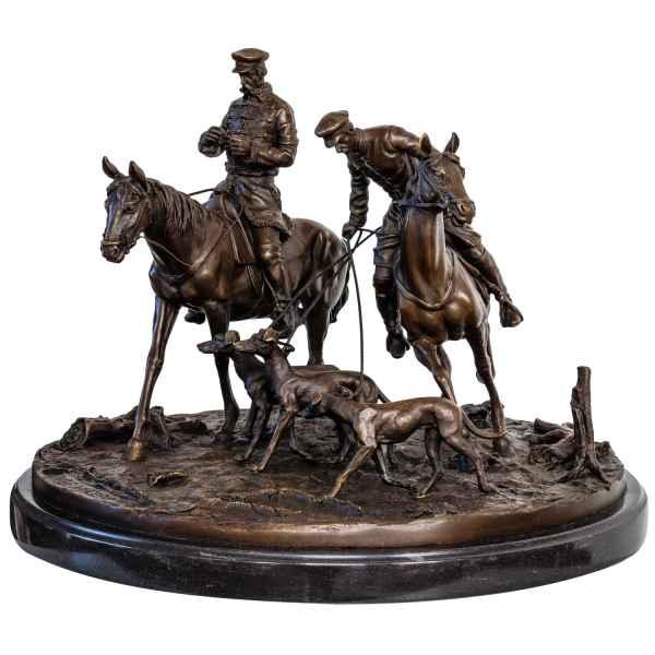 Bronzeskulptur Kosake Russland im Antik-Stil Bronze Figur Statue 41cm