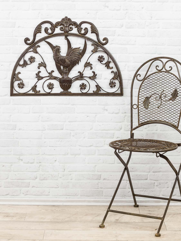 wanddekoration fenster hahn 70cm metall deko garten terrasse aubaho. Black Bedroom Furniture Sets. Home Design Ideas