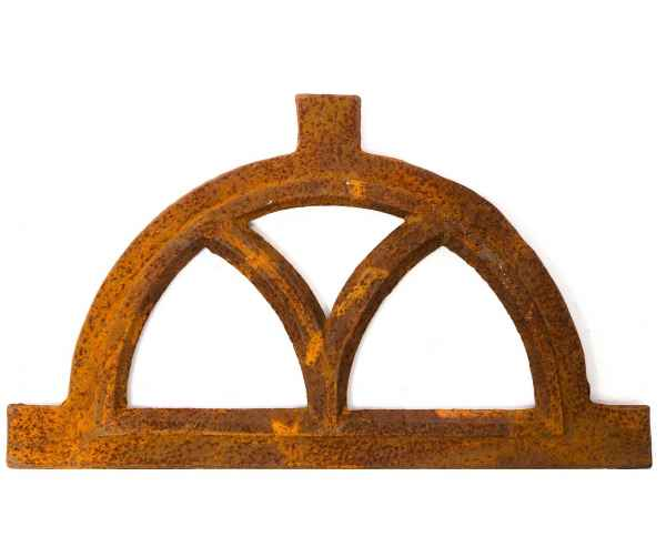 Window frame in an antique style arched cast iron with rust semicircle 33x59cm