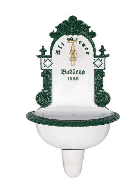 Brunnen Wandbrunnen 72cm Aluminium Waschbecken im Nostalgie antik Stil fountain