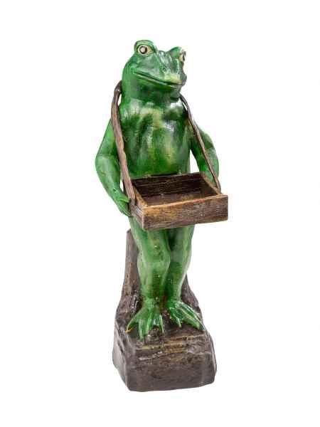 Figur Frosch Gartenfigur Kundenstopper Ständer Visitenkarten Skulptur Gusseisen