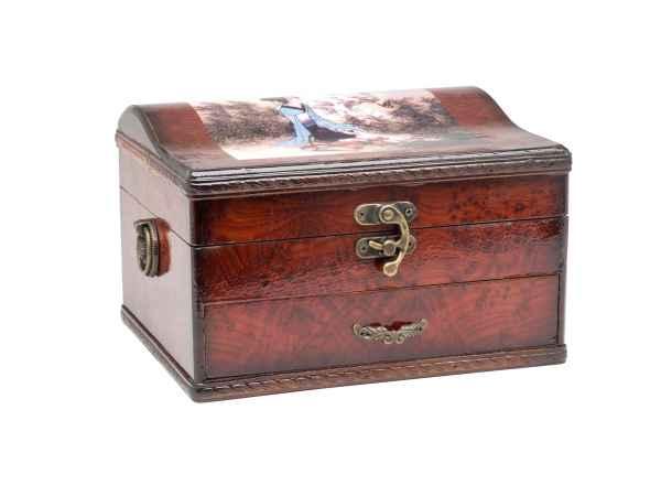 Schmuckschatulle Spiegel Schmuckkasten antik Stil Holz jewelry box Dame