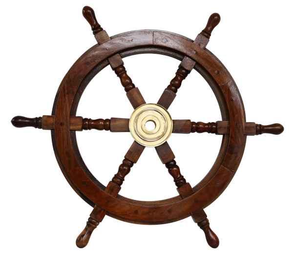 Schiffssteuerrad Schiffsrad Steuerrad Schiff Schiffe Boot 62cm Holz Antik-Stil