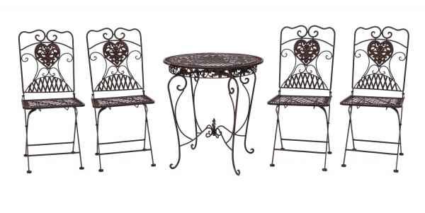 Gartentisch und 4 Stühle Eisen Bistromöbel Antik-Stil Tisch Gartenmöbel braun
