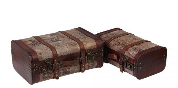 2x Holzkoffer Oldtimer Koffer Nostalgie Kofferset Truhe Box Holz im Antikstil