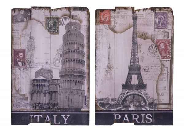 2x Bild 60x40cm Holzbild Holztafel Pisa Italien Paris Frankreich antik Stil