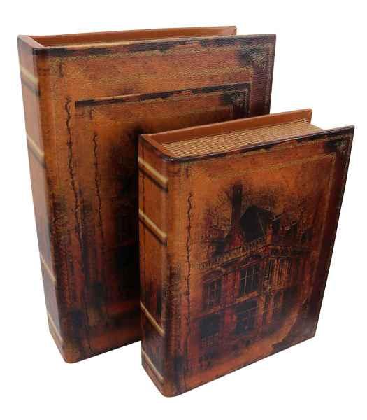 2x Schatulle Stadt Zahlmappe Buchattrappe Box Schmucketui Buchtresor Buchsafe