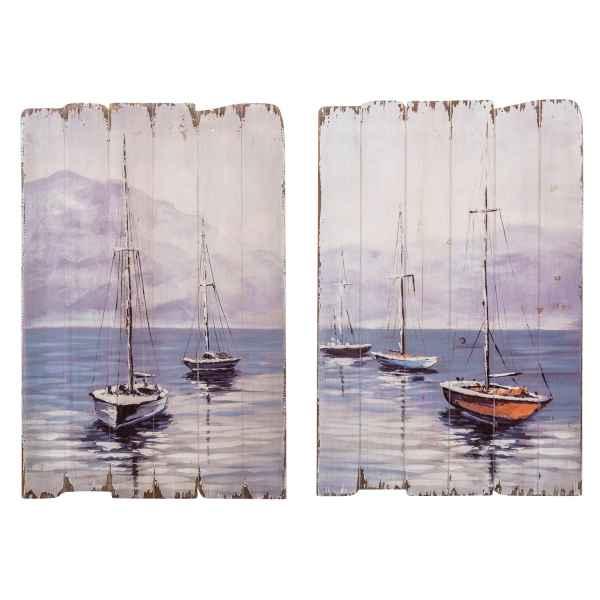 2x Bild Wandtafel Tafel Holzbild Wandbild Boot Segelboot Holz Antik-Stil 90cm