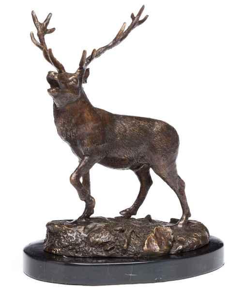 Bronzeskulptur Hirsch Bronze Jagd Jäger Figur Skulptur 24,5cm sculpture deer
