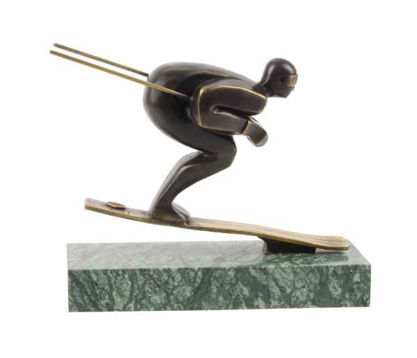 Bronzeskulptur Skifahrer Wintersport Ski Antik-Stil Bronze Figur Statue 22cm