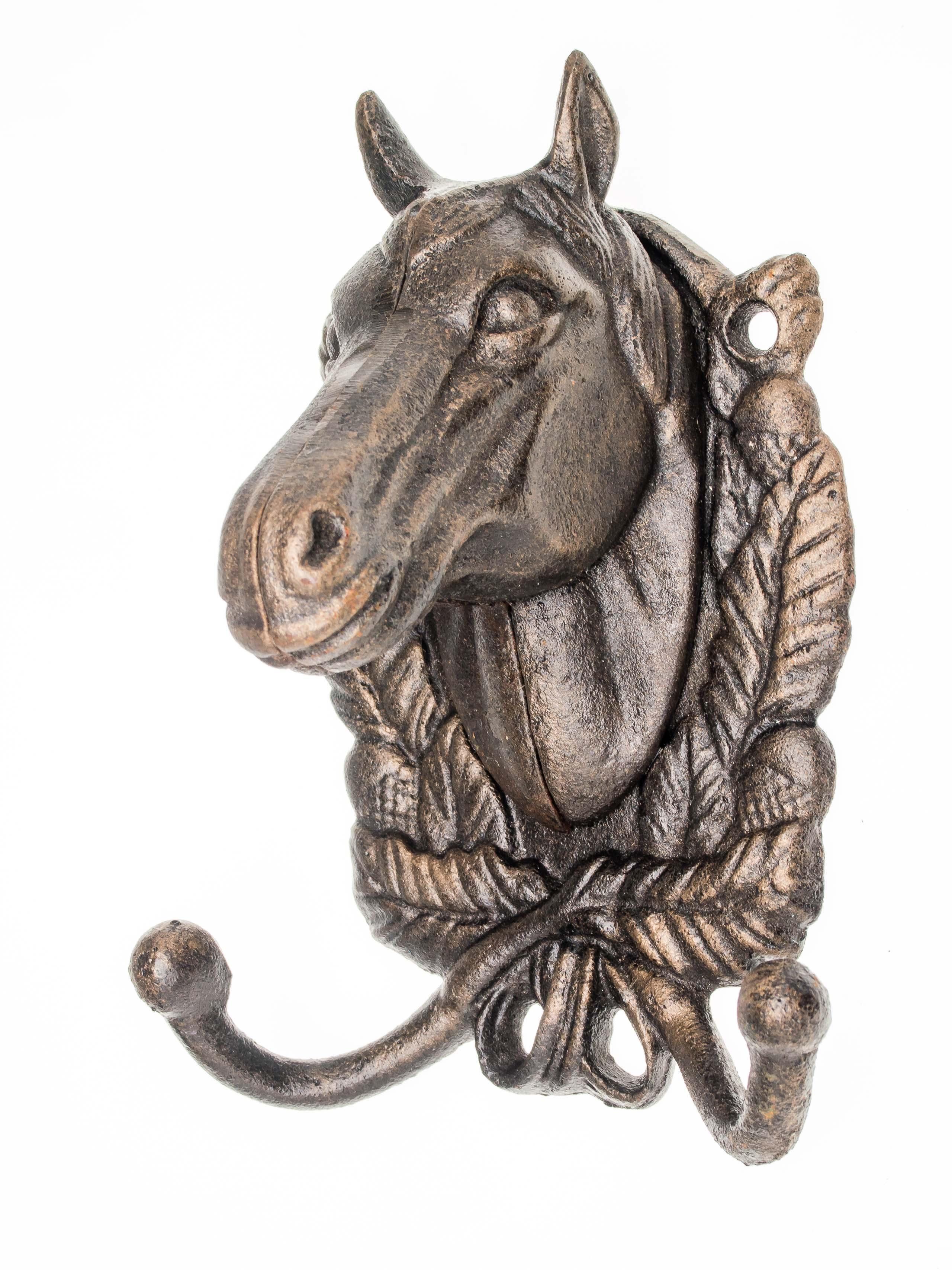Wandgarderobe Pferd Garderobe Handtuchhalter Eisen antik Stil braun iron Horse