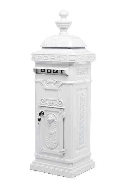 Standbriefkasten - Briefkasten - Aluminium - im Antik-Stil - weiss - 115cm
