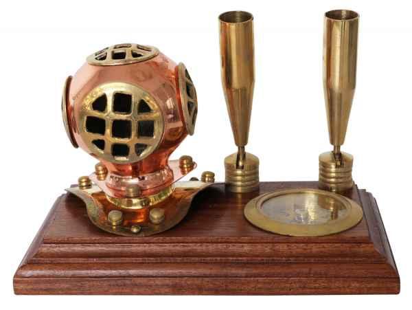 Stiftehalter Schreibtisch Kompass Taucherhelm Schiff Maritim Nautik Antik-Stil