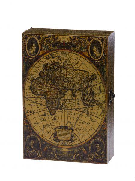 Schlüsselkasten Schlüsselschrank im antik Stil Holz Weltkarte Schlüssel key