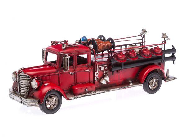 Modellfahrzeug Feuerwehr im nostalgischem Stil Feuerwehrauto 50cm Auto Blech