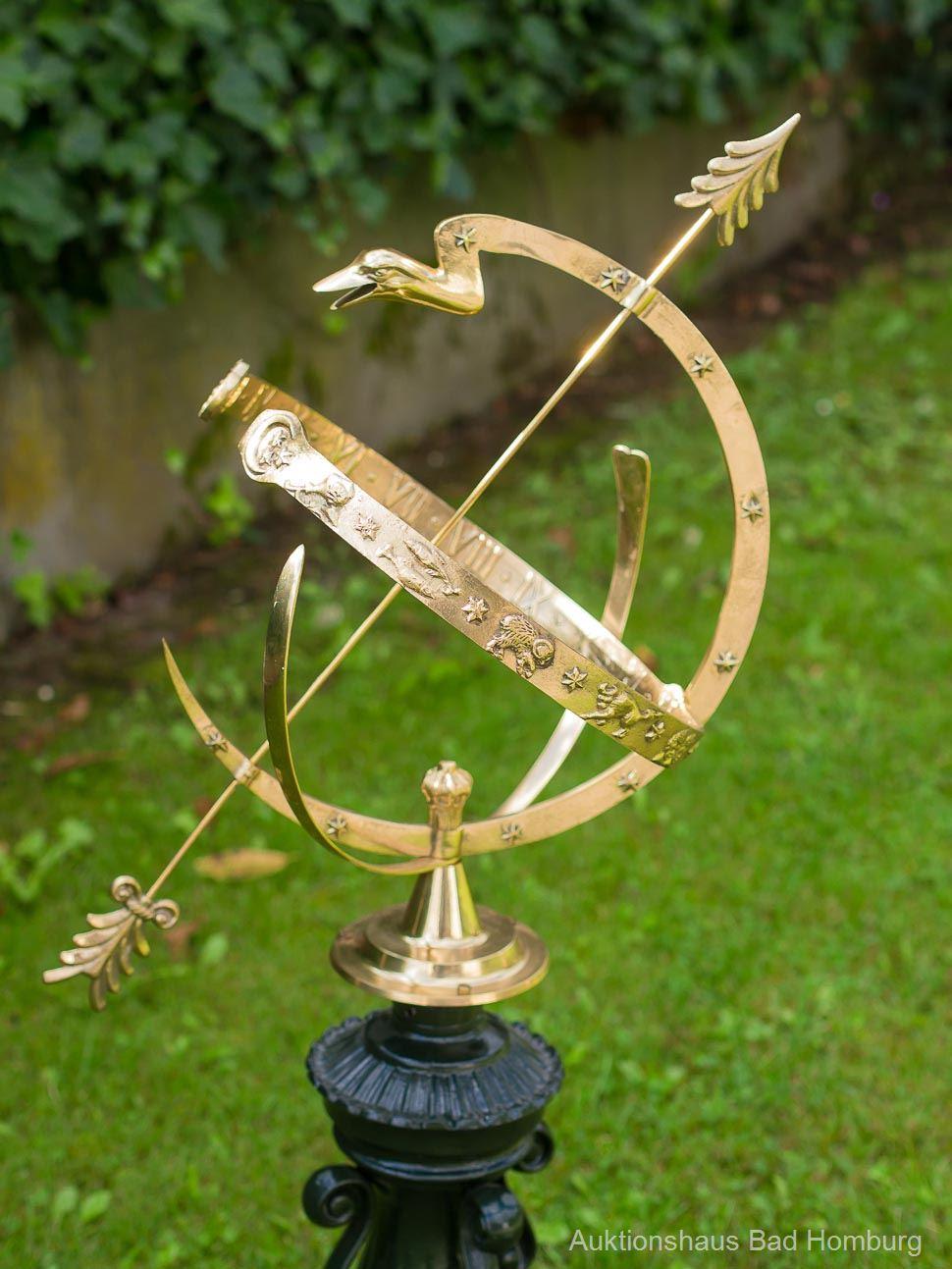 Sonnenuhr 104cm Alu Garten Dekoration Antik Stil Sternzeichen