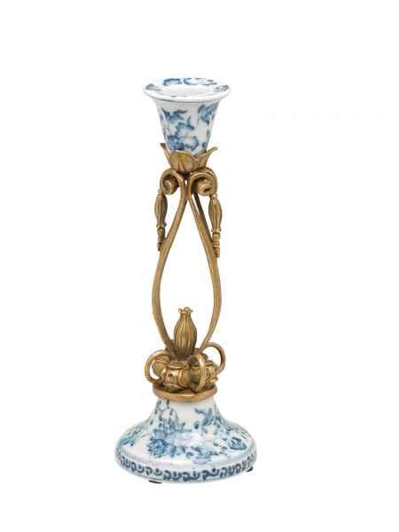 Kerzenständer Kandelaber Porzellan Bronzeapplikationen Craquele antik Stil 28cm