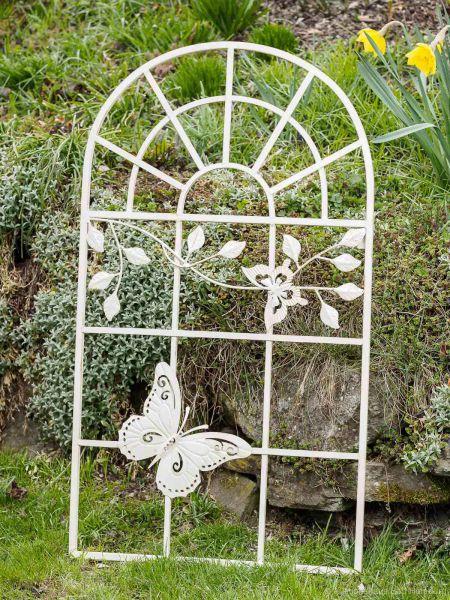 Nostalgie Stallfenster 97x55cm Fenster Rahmen Metall antik Stil creme weiß