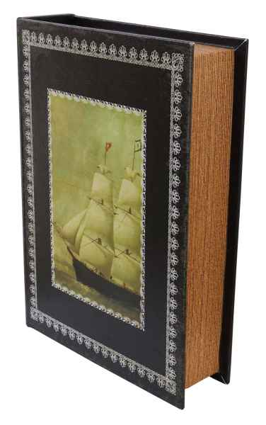 Schatulle 25cm Schiff Zahlmappe Buchattrappe Segelschiff Schmucketui Buchsafe