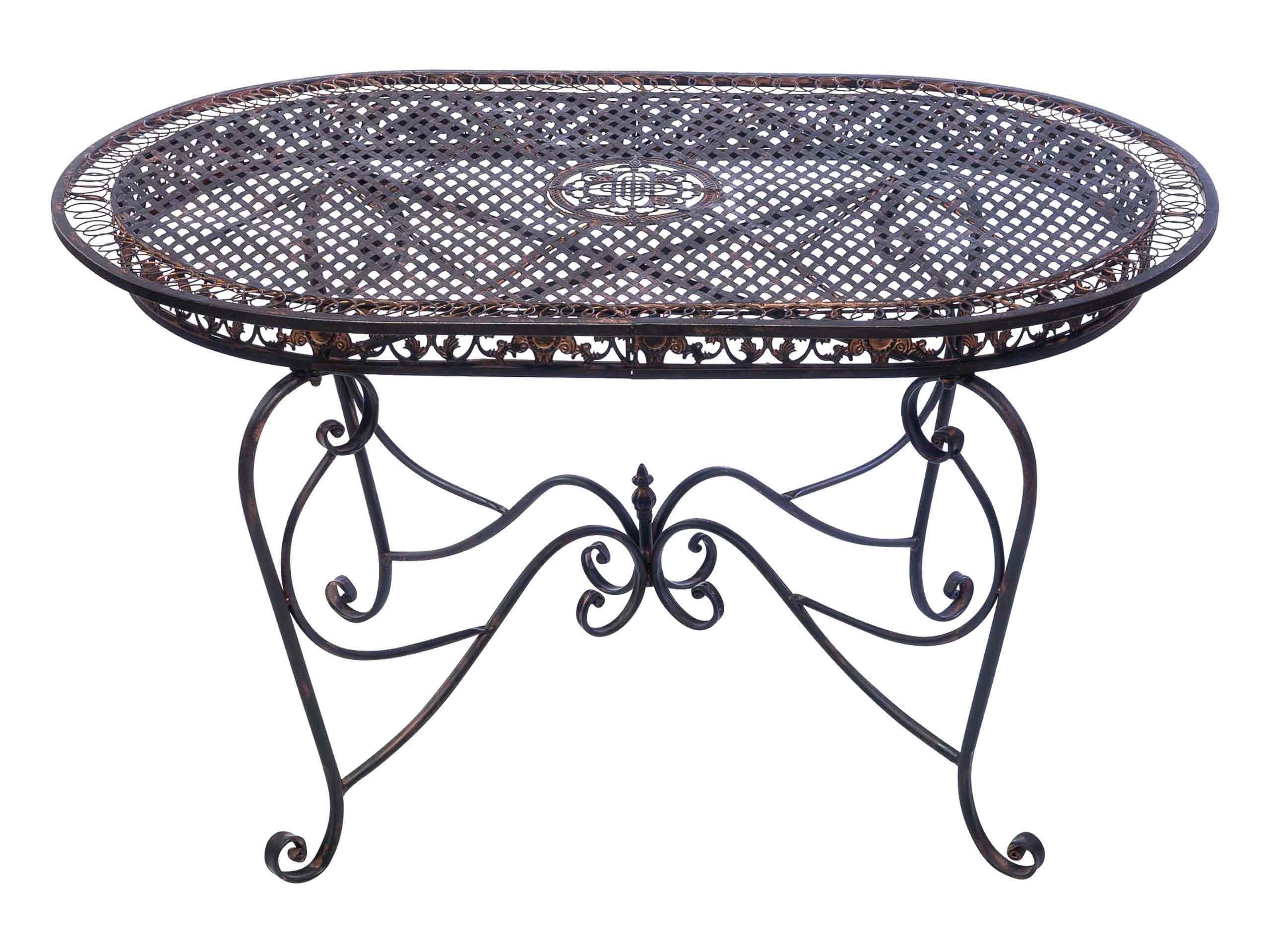 Gartentisch 135cm Eisen Tisch Schmiedeeisen Gartenmöbel Braun Antik Stil