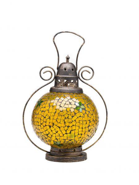 Windlicht Laterne Lampe Teelicht Garten Terasse Haus Glas Buntglas gelb 31cm