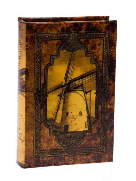 Schatulle Windmühle Holz Buchattrappe Box Kästchen Etui Buch antik Stil book L