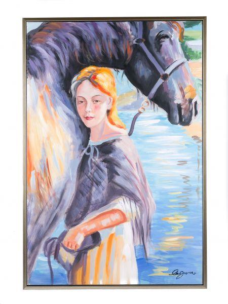 Original Gemälde Ölgemälde Mädchen mit Pferd mit Rahmen modern 124cm