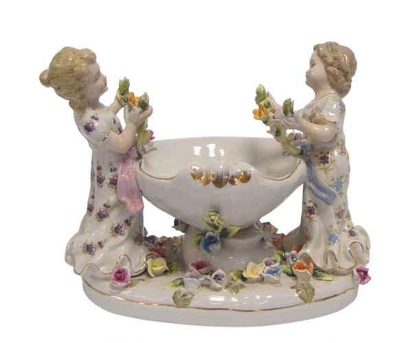 Schale Prunkschale Frau Blume Skulptur Porzellan Antik-Stil 23cm