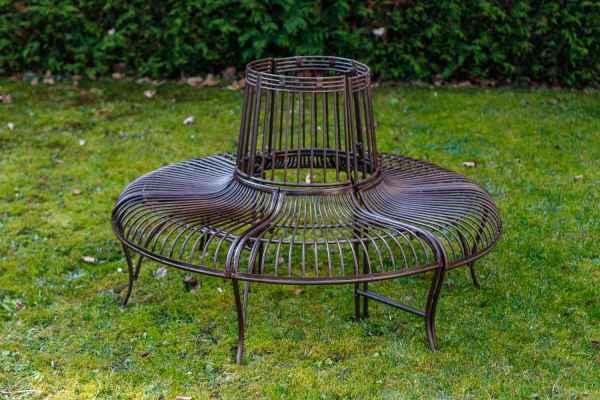 Gartenbank Set Bank Antik-Stil Garten Metall Eisen braun Möbel Baumbank