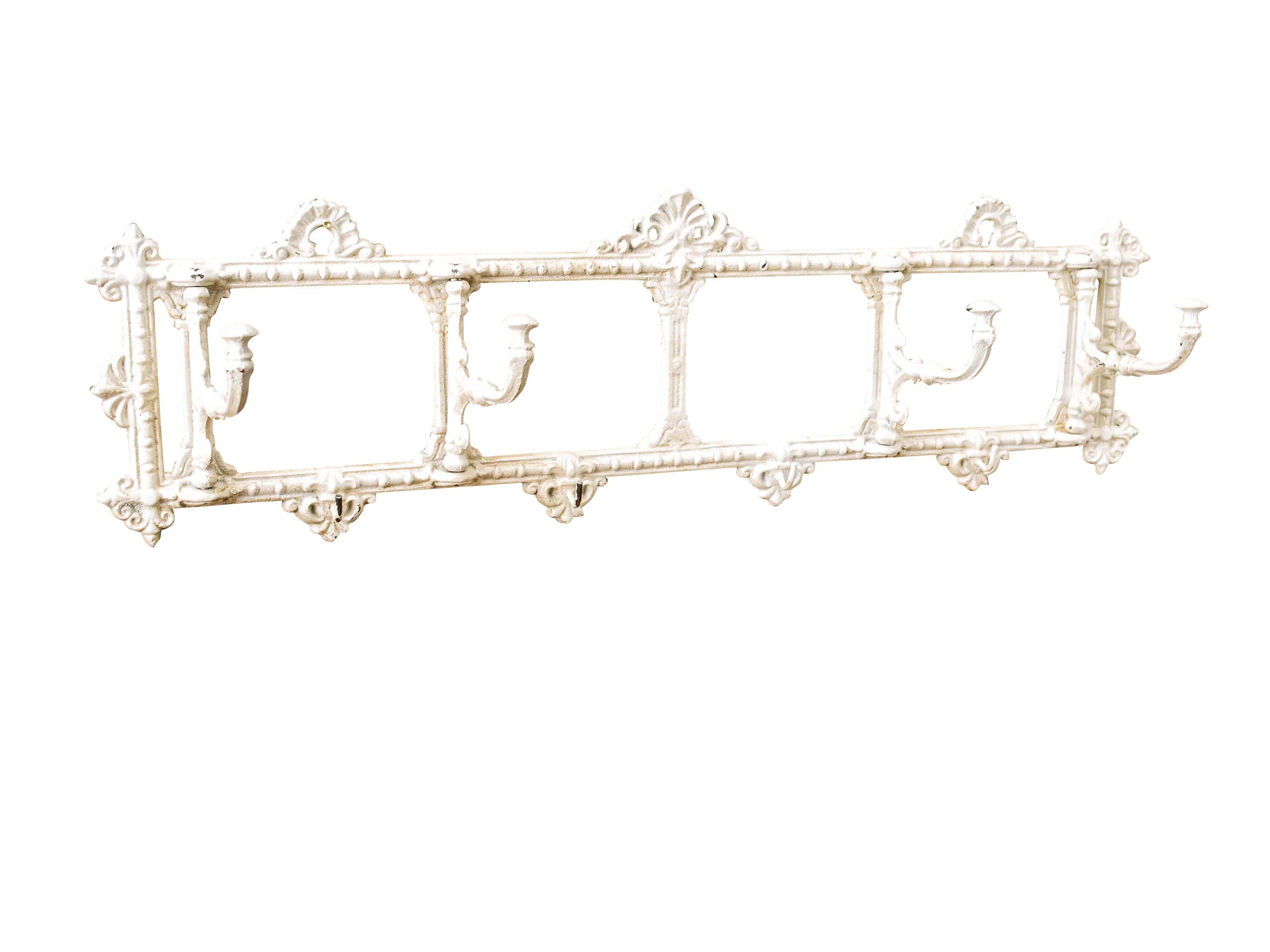 Wandgarderobe Garderobe Jugendstil antik Stil 63cm Kleiderhaken braun wardrobe Antiques Reproduction Arms./Wardrobes