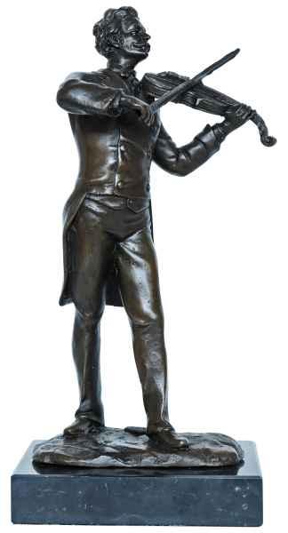 Bronzeskulptur Geiger Geige Violine Musik im Antik-Stil Bronze Figur 21cm