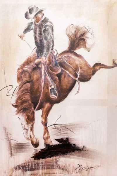 Ölbild Rodeo Cowboy Pferd Reiter Keilrahmen Bild moderne 90x60cm Gemälde Stil