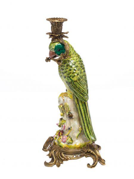 Papagei Kerzenständer Porzellan Antikstil Kerzenleuchter 37cm candlestick parrot