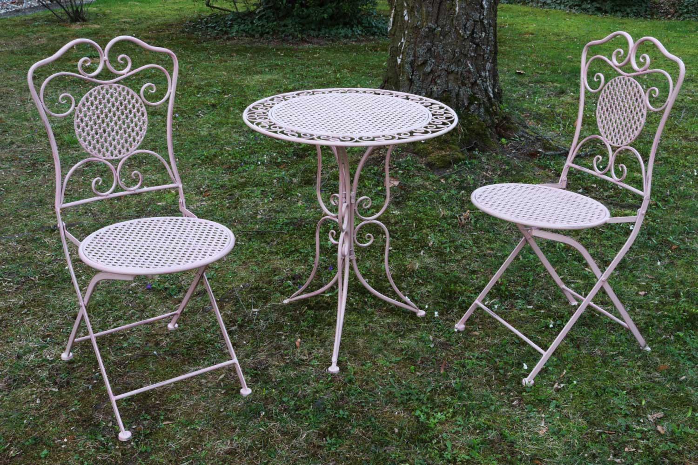 Gartenset Tisch Und 2 Stühle Eisen Antik Stil Gartenmöbel Rosa