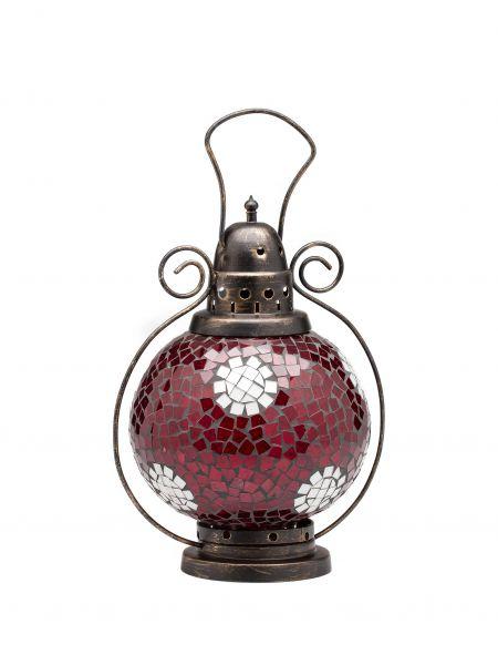Windlicht Laterne Lampe Teelicht Garten Terasse Haus Glas rot weiss 31cm