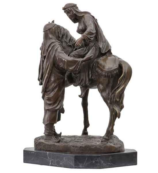 Bronzeskulptur Araber mit Pferd im Antik-Stil Arabien Bronze Figur Statue 44cm