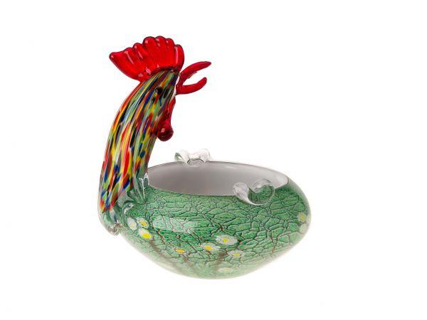 Glas Schale Aschenbecher 18cm Hahn Huhn im Italien Murano Antikstil ashtray cock