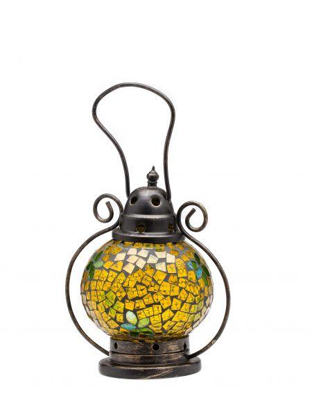 Windlicht Laterne Lampe Teelicht Garten Terasse Haus Glas Buntglas gelb 20cm