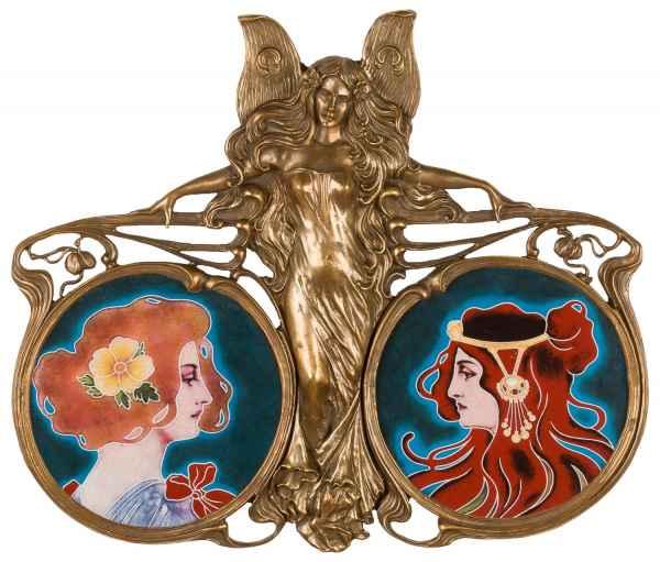 Schale Porzellan Messing Engel Fee Skulptur Jugend-Stil im Antik-Stil 47cm