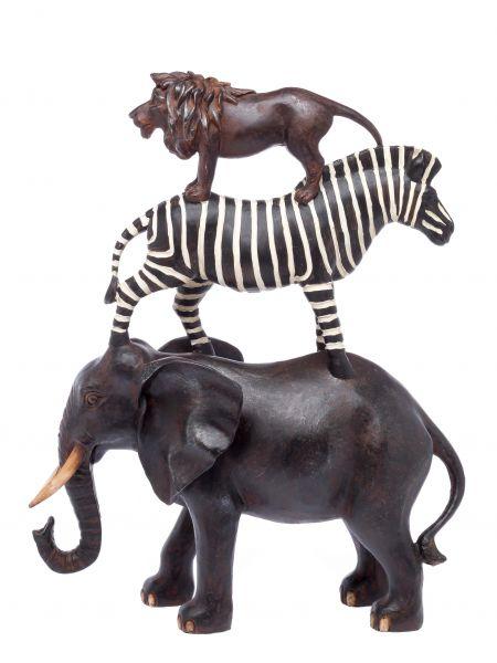 Savannentiere Afrika Africa Elefant Zebra Löwe Figur Skulptur sculpture animal