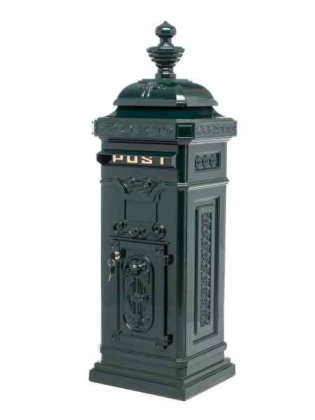 Standbriefkasten - Briefkasten - Aluminium - im Antik-Stil - grün - 115cm
