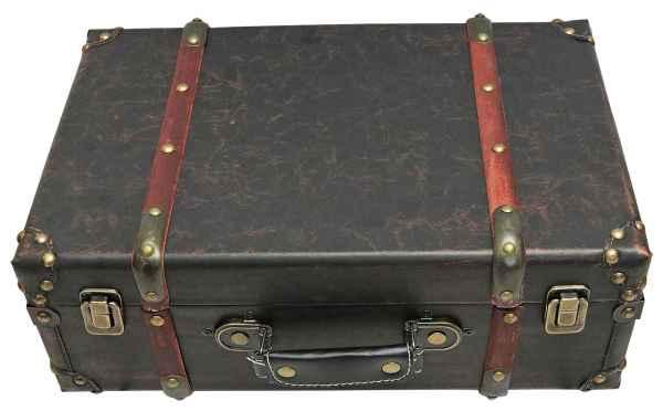 Koffer Holzkoffer 40cm Holz Nostalgie Antik-Stil Oldtimer braun vintage style