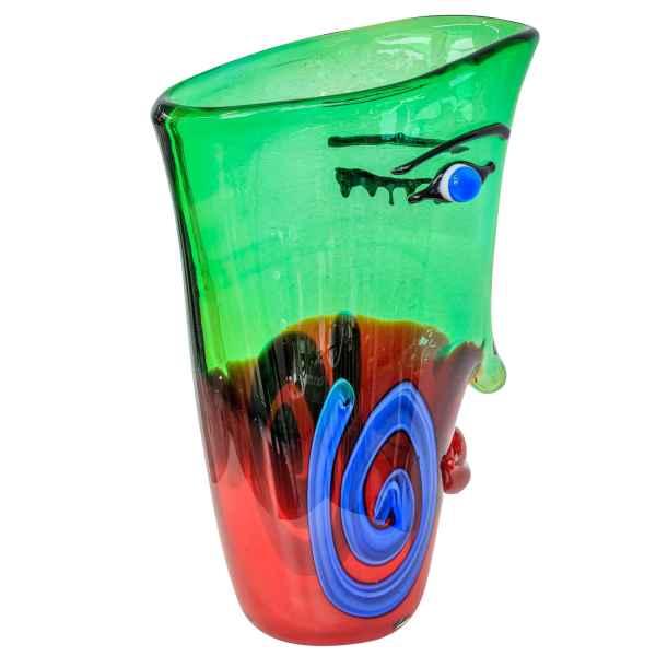 Glasvase Vase Gesicht Glas im Murano Antik Stil 30cm