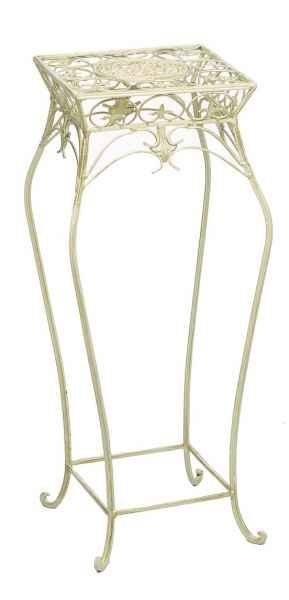 Blumenhocker 55cm Blumentisch Blumenständer Garten creme weiss Eisen Blumensäule