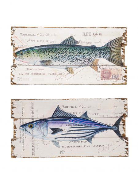 2x Bild Wandtafel Tafel Fishing Holzbild Wandbild Fische Angler angeln shabby