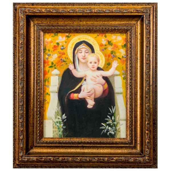 Original Gemälde Madonna Maria Jesus Ölgemälde mit Rahmen Ölbild Antik-Stil 38cm