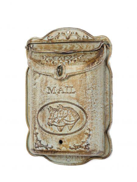 Briefkasten Wandbriefkasten Eisen antik Stil Landhausstil Pferd Shabby Grün iron